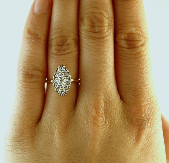 Bella Lacy Diamond Engagement Ring, Art Deco 1920's in 10k White and Yellow Gold on Etsy, $329.00