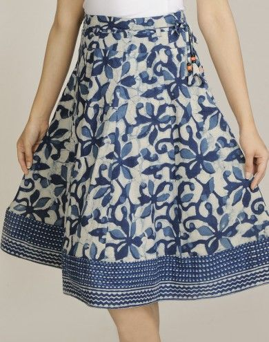 Cotton Dabu Combination Printed Short Skirt