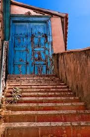 Blue door in Hydra, Greece