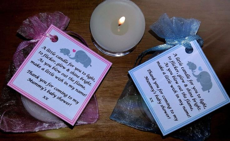 Baby shower favours with a vanilla scented candle for each recipient to light. Each favour consists of a small organza bag 7cm x 9cm approx. containing a scented vanilla tea light candle. The card labels have a little poem for your guests to enjoy. | eBay!