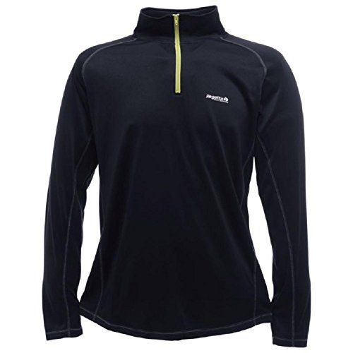 Regatta Mens Base Zip Neck Thermal Wicking Anti-Bac Ski Base Layer Top Black XL