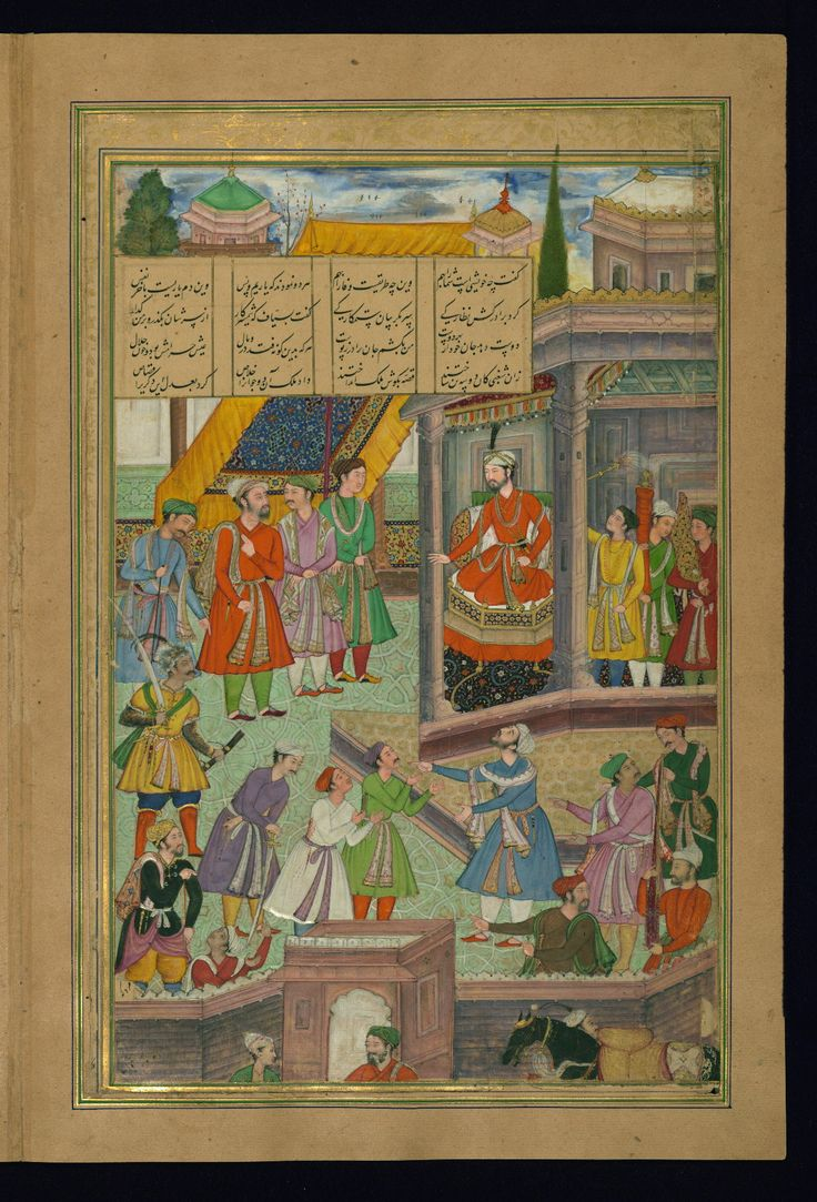 Fratricide witnesses the loyalty of two friends - Text: Maṭlaʿ al-anvār Label: This illustration depicts the tenth maqāla (discourse). Two men who are about to be executed are found in the lower foreground. Several men plea to the king for clemency. - W624