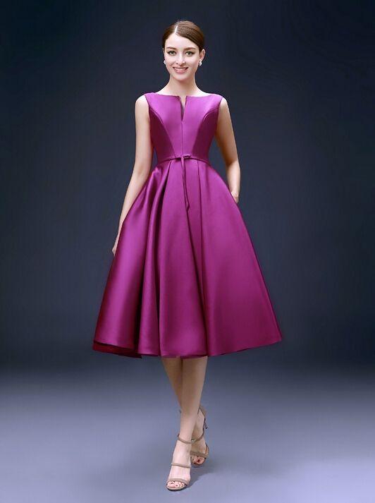Modest Knee Length Cocktail Dresses Low Back Fuchsia Satin Short Women Evening  Party Dress Customized Size 077fbbd58