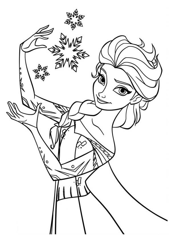 Frozen, : Elsa the Snow Queen Making Snowflakes Coloring Page