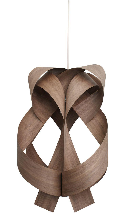 Lámpara de techo panal, chapa de madera de nogal entrelazada