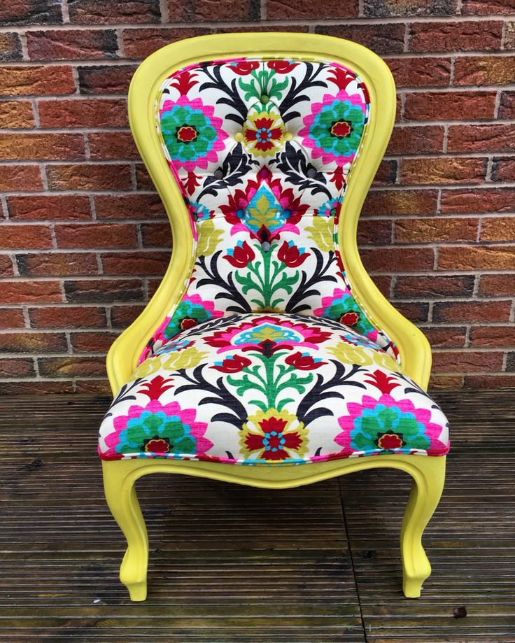 English yellow Annie Sloan chalk paint, spoon back chair, tufted with Waverly Santa Maria Desert Flower