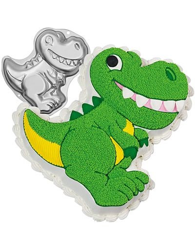 Dinosaur Cake Pan 13in - Go Jurassic with our Dinosaur Cake Pan! This shaped aluminum Dinosaur Cake Pan features a full body t-rex dinosaur in glorious detail. Easy cake decorating instructions are included. Dinosaur Cake Pan takes a standard 2 layer cake mix and measures 12 3/4in X 11in X 2in deep.