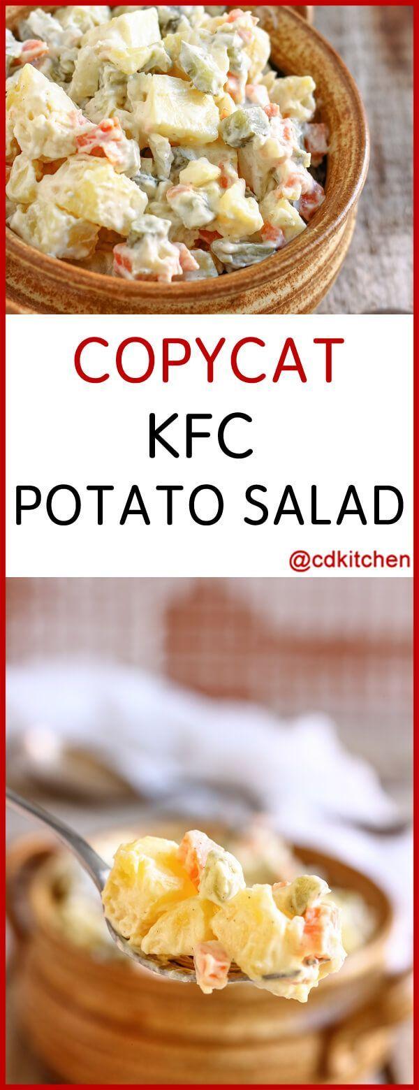 Copycat KFC Potato Salad - Recipe is made with salt, black pepper, parsley, carrot, russet potatoes, mayonnaise, pickle relish, sugar, white onion, prepared mustard, vinegar, celery, pimientos   CDKitchen.com