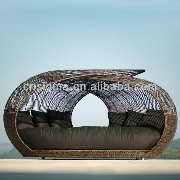 2014 en gros jardin en osier rotin en plein air unique lit de jour