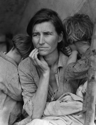This photograph of Florence Owens Thompson (32 year old mother of 7) is one of the great representations of the Great Depression. The photograph was taken by Dorothea Lange after Florence had sold her tent to provide food for her children.
