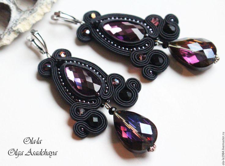 """Купить серьги """" Чернильное сердце"""" - черный, роскошь, роскошное украшение, шикарное украшение"""