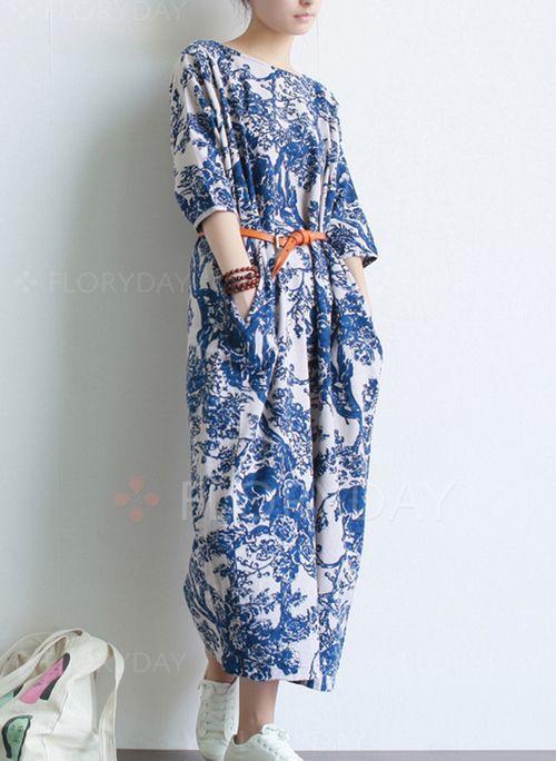 Платья - $45.69 - Винтажное платье из хлопока длины миди с цветочным принтом с рукавами 3/4 (1955109171)
