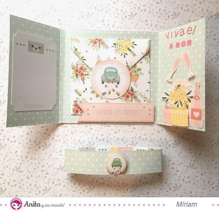 3 Ideas para regalar dinero en bodas originales. Manualidades con papel. Scrapbooking. DIY. Handmade: Papercraft. Manualidades para boda. Anita y su mundo.
