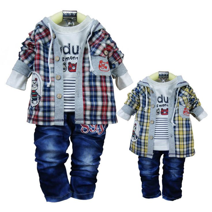 Shipping Children Boys Plaid Clothing Sets Hooded Coat T Shirt Jeans
