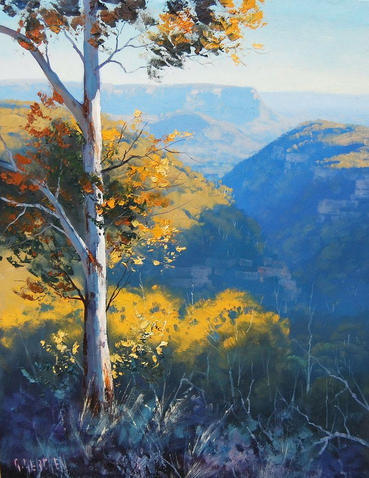 Blue Mountains. NSW by artsaus. Paintings by Graham Gercken (artaus on deviantART) are all in Oil on linen canvas using both brush and palette knife.