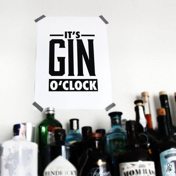 GIN Printable . Wanddeko . Printable . Plakat Gin . quote . A4 . for men . gin o'clock - ein Designerstück von sppiy bei DaWanda