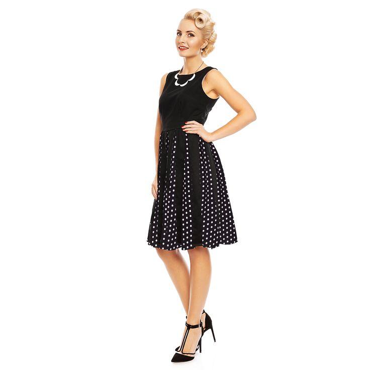 Černé šaty s puntíkovanou sukní Dolly and Dotty Judith