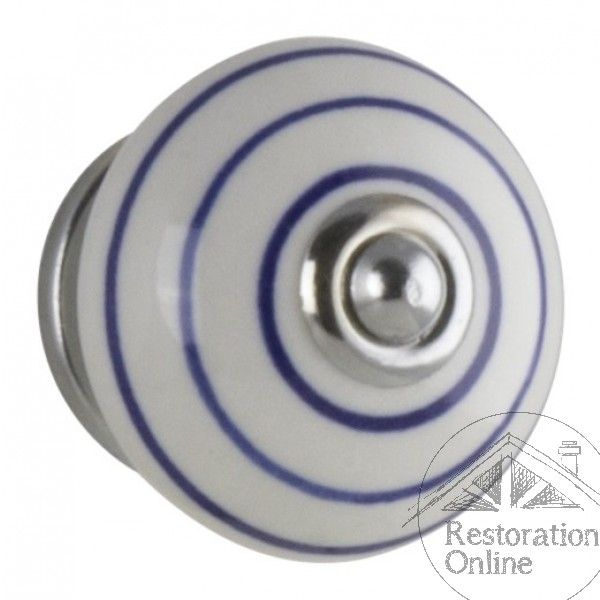 Tradco Ceramic Swirl Knob - Blue and White Porcelain Handle