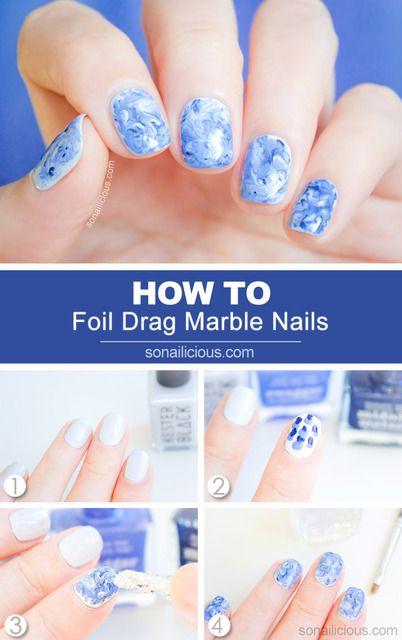 ◆最初にのせたブルーのマーブルネイルのやり方◆