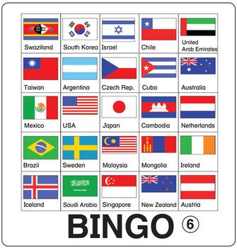 ESL Games-Flag Bingo -n Flag Bingo is a great review for teachers too!  This pdf file includes 12 Flag Bingo game boards and 50 images for use as draw cards.  Bingo isn't just for special occasions! Think of Bingo as a lesson review disguised as a game!