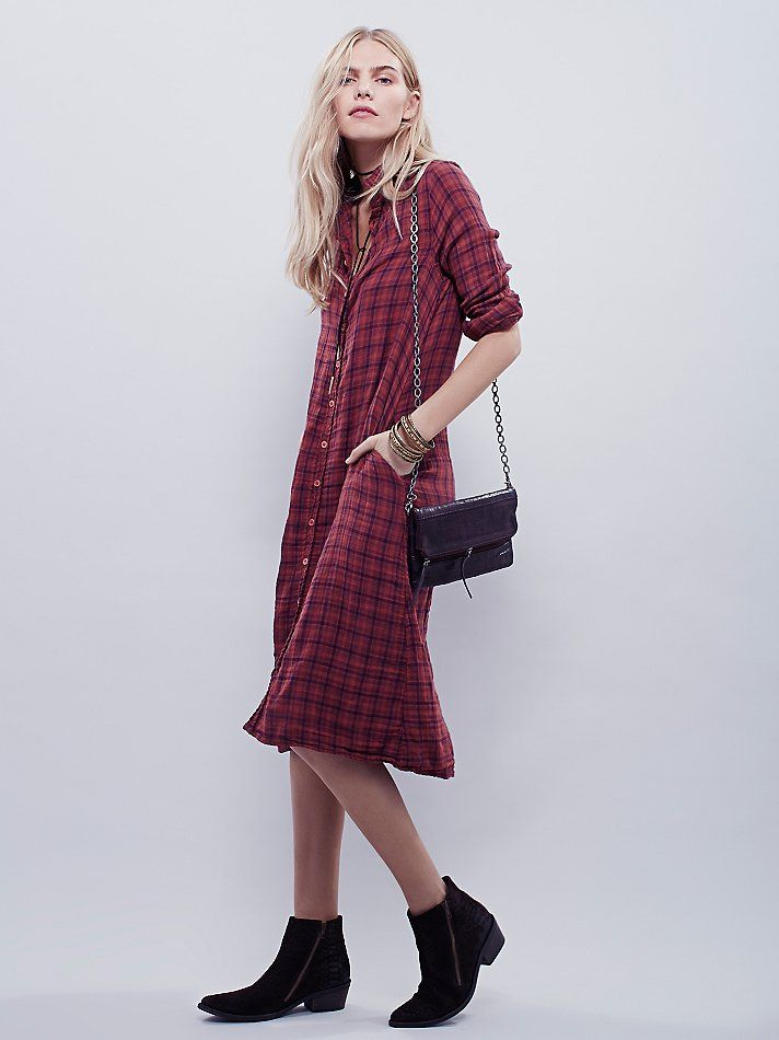 Plaid Maxi | Woven plaid maxi top with button front opening. Two hip pockets.     *By CP Shades