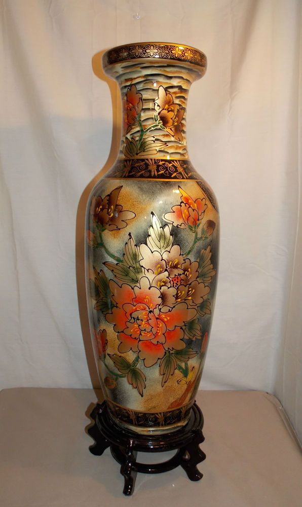 New Asian Oriental Hibiscus Flower Floral Design Decorative Vase Ceramic 2