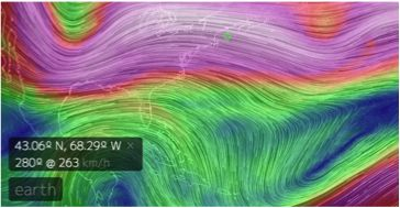 The new visual data resource, earth, compiles and updates wind and ocean data. This is a Waterman Butterfly projection of Earth, looking at the wind direction and speed at the 250 hPa pressure level, which is about the height of the Polar Jet Stream.
