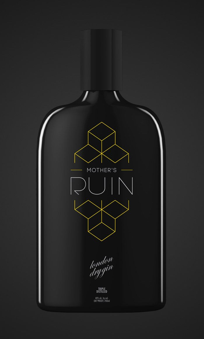 mother's ruin gin on the dieline #packaging