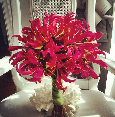 Flamboyant and red gloriosa lily bridal #bouquet by isha foss