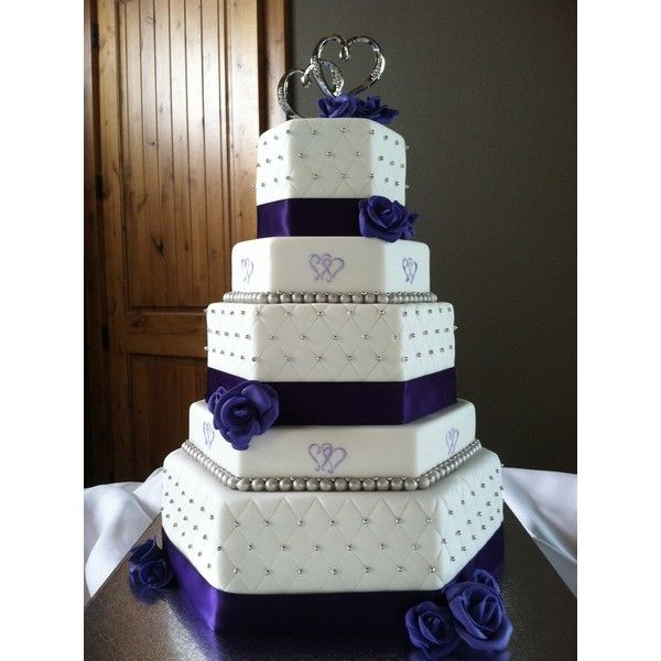 Two hearts themed purple and silver hexagon wedding cake — Other /... ❤ liked on Polyvore featuring cake, wedding, food, weddings and food & drinks