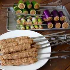Grilled Stuffed Vegetable Kebabs (Шашлык из овощей и фарш)