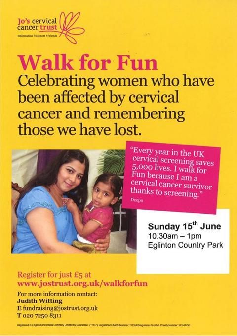 Ayrshire resident Suzanne Fernando is calling on others to take steps against cervical cancer by joining her on 15th June at 11am in Irvine's Eglinton Country Park for Walk for Fun.