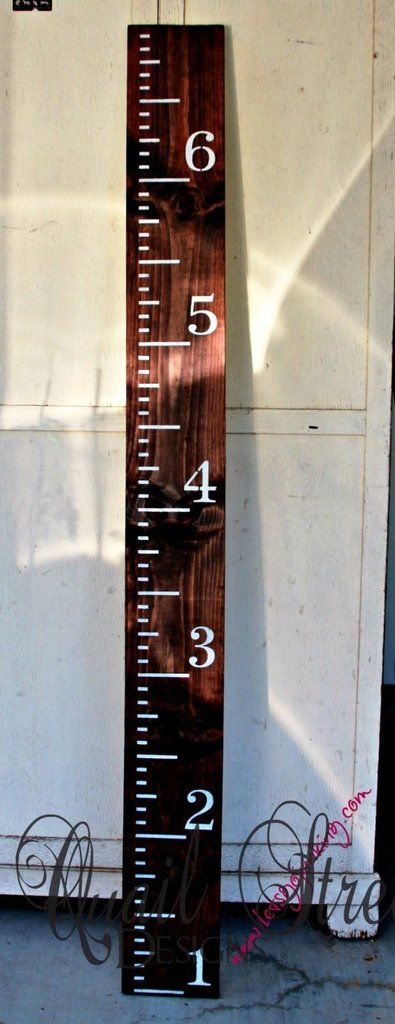 "Hand Painted Wood Growth Chart or Rulers. Keep your child's measurements no matter how many times you move. Sharpie Fine Point works perfect! Rulers are pine and are 6"" wide and 6' tall. Hang ruler 1'"