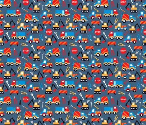 Kids illustration construction truck and tools boy pattern fabric by littlesmilemakers on Spoonflower - custom fabric