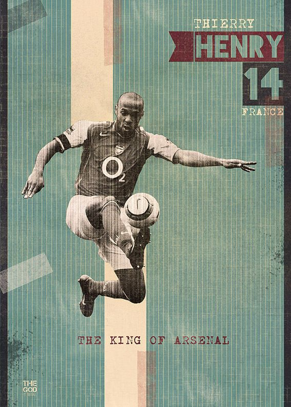 The Gods Of Football (Part I) by Marija Marković on Behance — Thierry Henry, #14, France