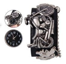 Новый панк мото часы мужчины PU кожаный браслет мотоцикл часы человек райдер наручные часы мужская мода часы прямая поставка(China (Mainland))