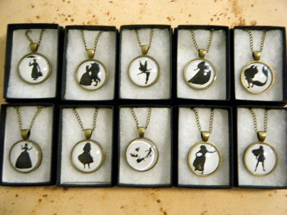 Each cameo necklace has a silhouette of a certain character, but if you would like one you dont see here select the Custom option and include