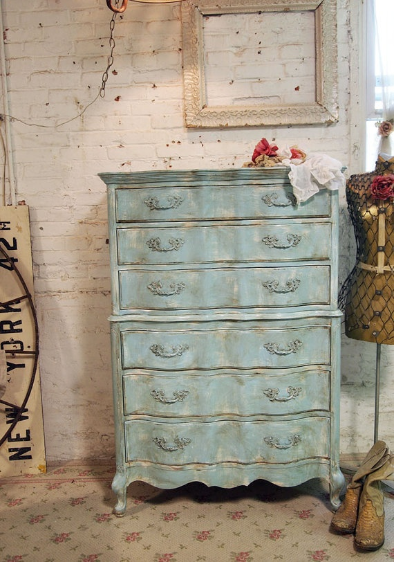 Painted Cottage Chic Shabby Aqua Romantic by paintedcottages, $525.00: Cottages Chic, Romantic Cottages, Paintings Cottages, Aqua Romantic, Romantic Dressers