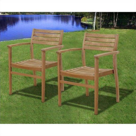 Amazonia Clanfield Teak Wood Outdoor Stacking Chairs, Set of 4, Light Brown