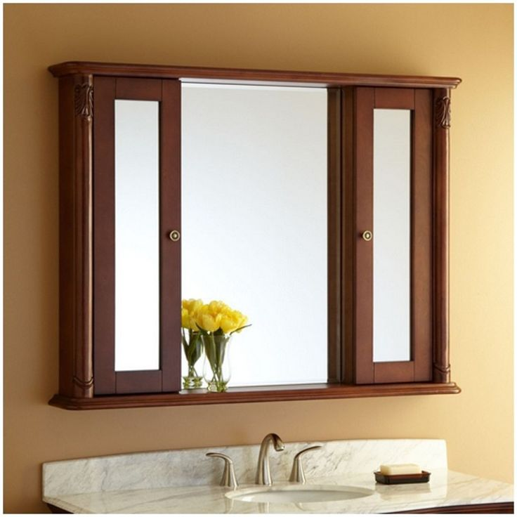 Timber Bathroom Cupboard Visions Nice Looking Ideas With Mirrors Canada Wooden Brown Frame