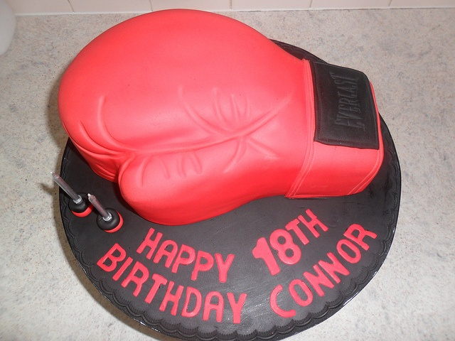 red 18th boxing glove birthday cake, via Flickr.