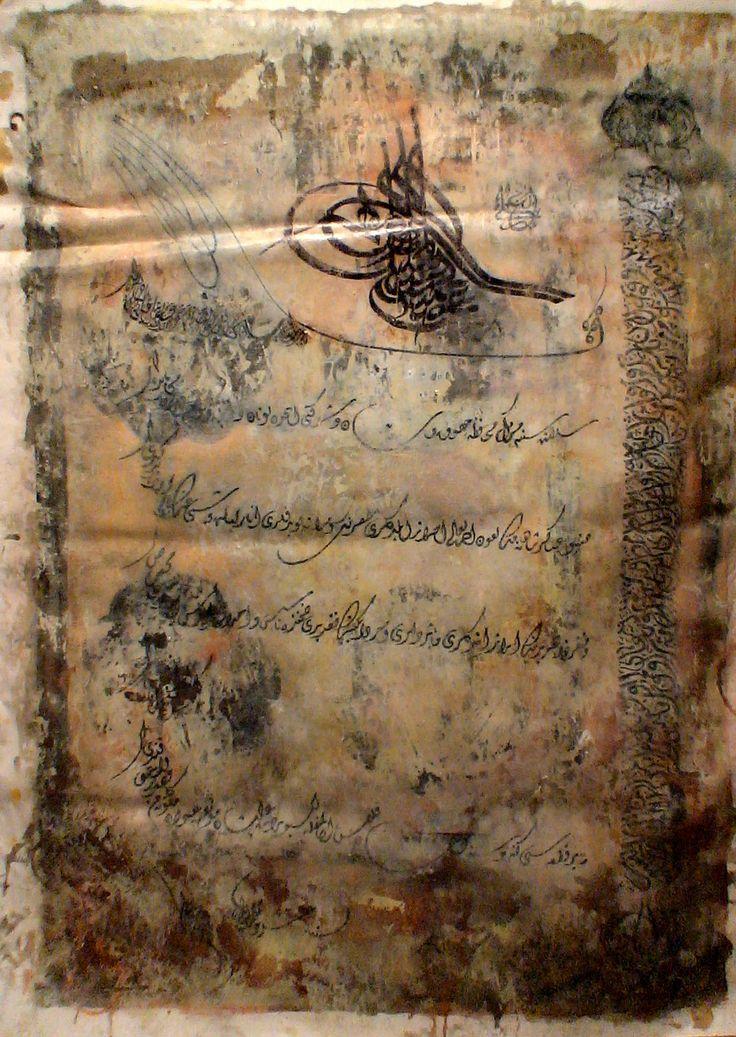 Sultan Abdulhamit ferman 75x125 cm yağlıboya