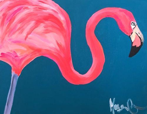 flamingo schilderij