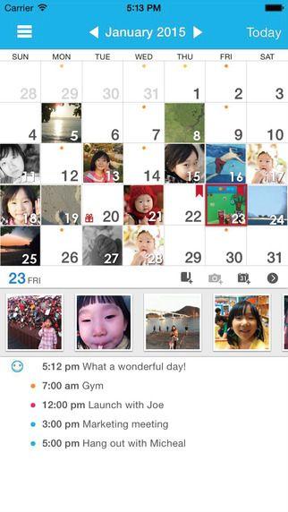 Those Days(+Journal/Calendar/Task/Photo) yunaSoft Inc. 제작 달력 날짜별 사진을 볼수 있고 같은 날 찍은 다른 년도의 사진도 보여준다.
