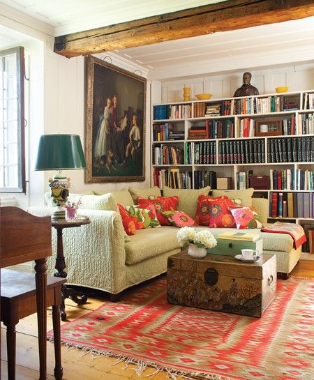 New Love love love this living room book cases slip covered couch old new