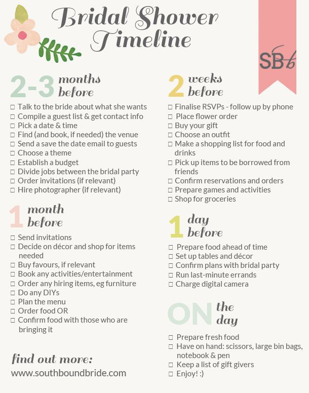 Bridal Shower Planning Timeline | How to Plan the Perfect Bridal Shower | SouthBound Bride