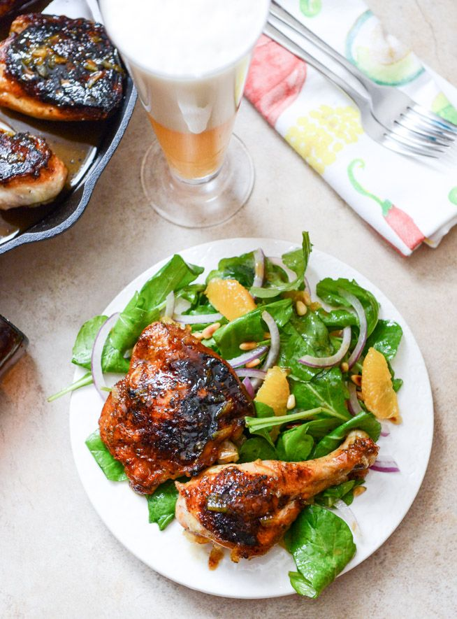 Beer Glazed Citrus Chicken with Orange Arugula Greens | How Sweet It Is
