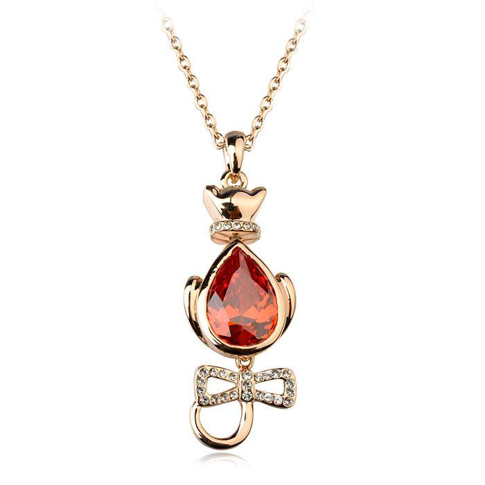 Мода ювелирные изделия позолоченные персидская кошка кристалл кулон ожерелье, форма животное ювелирных изделий оптовая продажа