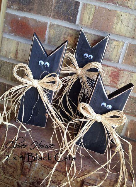 DIY Wooden Black Cats for Halloween