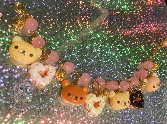 Rilakkuma Bun Pastry Donut Charm Pink Beads Bracelet by zefora